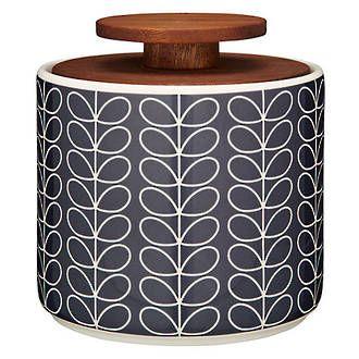 Orla Kiely Linear Stem Grey 1L storage jar $89 - Perch Home