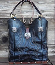 Purses made from old cowboy boots and belts.