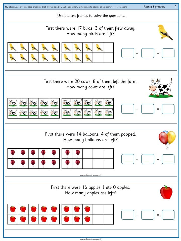 Year 1 Solve One Step Problems That Involve Addition And Subtraction Using Concrete Objects And Pictorial Representations 1 Master The Curriculum Subtraction Addition And Subtraction 1st Grade Math Worksheets Subtraction worksheets year twinkl