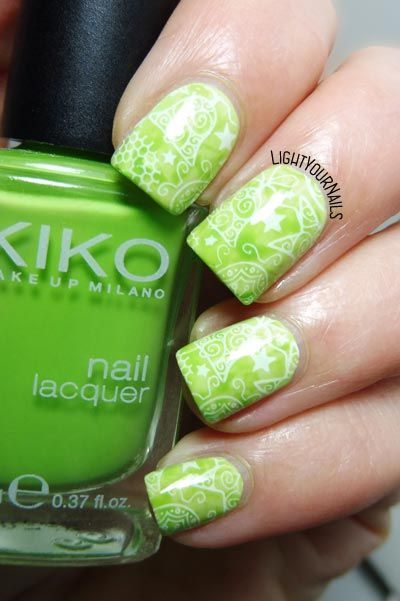 Green Christmas #nails #nailart #stamping #bornprettystore #lightyournails