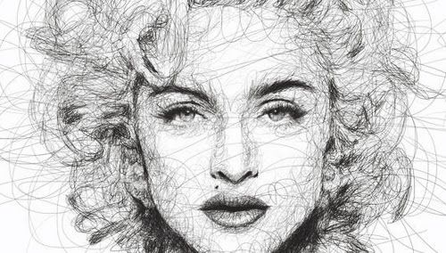 Scribble Method Drawing : Madonna face malaysian artist vince low scribble