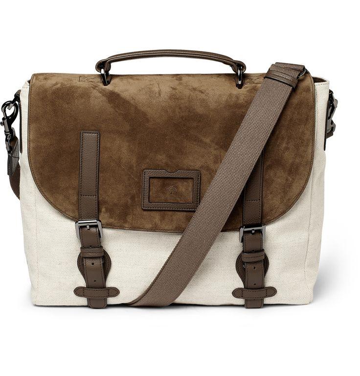 Mulberry Rockley Suede and Canvas Messenger Bag   MR PORTER