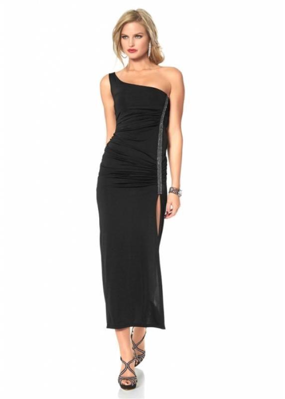 Wat een geweldig exemplaar is deze jurk. Met een a-symmetrische schouderlijn, one shoulder, strass steentjes en een subtiele split kun je wel voor de dag komen.