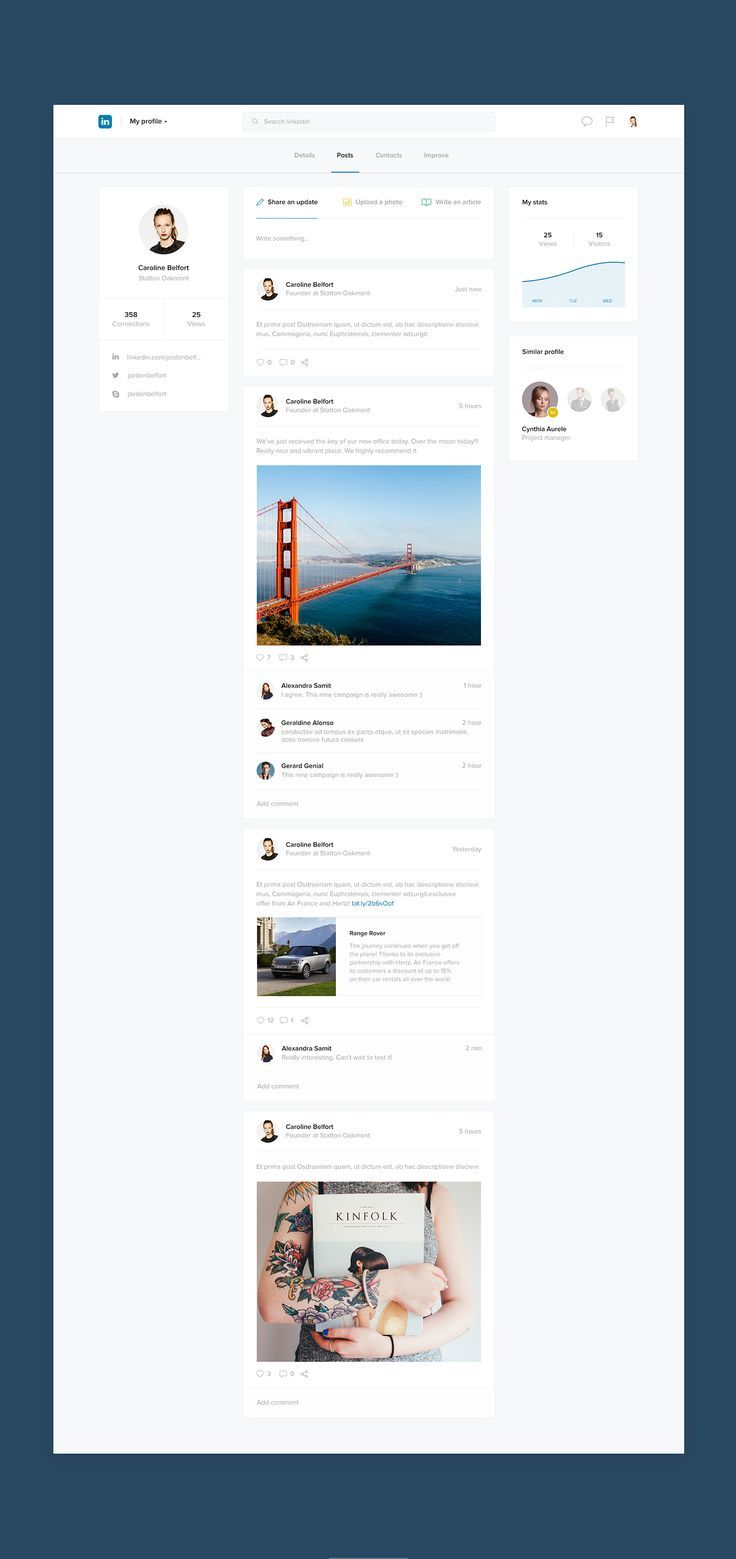 What if Linkedin was beautiful is a side project made for fun. This redesign concept has been created to practise my skills with no client restrictions. The main goal was to design an interface that I would like to use when I browse Linkedin website. Noth…. If you're a user experience professional, listen to The UX Blog Podcast on iTunes.