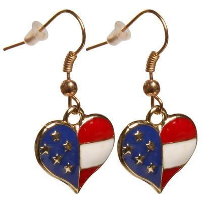 🎁 Øreringe med USA hjerte. Rigtig flotte øreringe formet som hjerte med Stars and Stripes.  Øreringene er perfekte til en temafest, eller bare når påklædningen skal have lidt kant.  De søde øreringe er fremstillet i nikkelfri metal med en fin emalje.  USA øreringene måler ca. 12mm brede og 35mm lange.