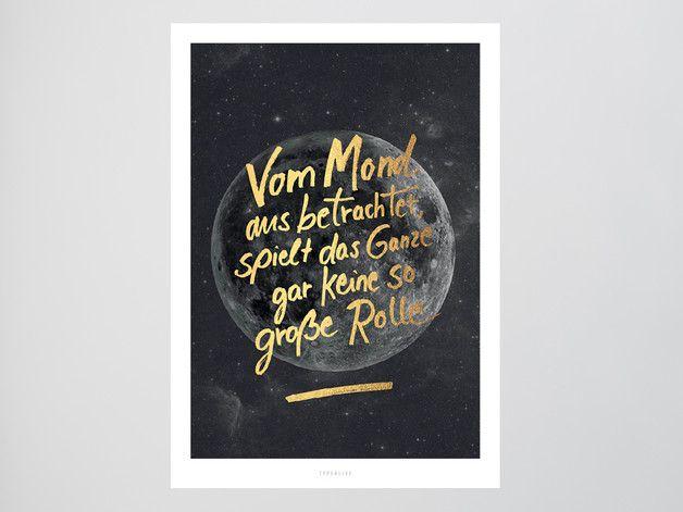 Wanddeko - Kunstdruck Poster / Mond No. 2 (Fake Gold) - ein Designerstück von typealive bei DaWanda
