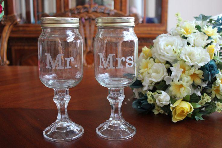 2 Redneck Wine Glass Set, mason jars, 2 mason jars. $24.00, via Etsy. @Laura Julius had to show you this!