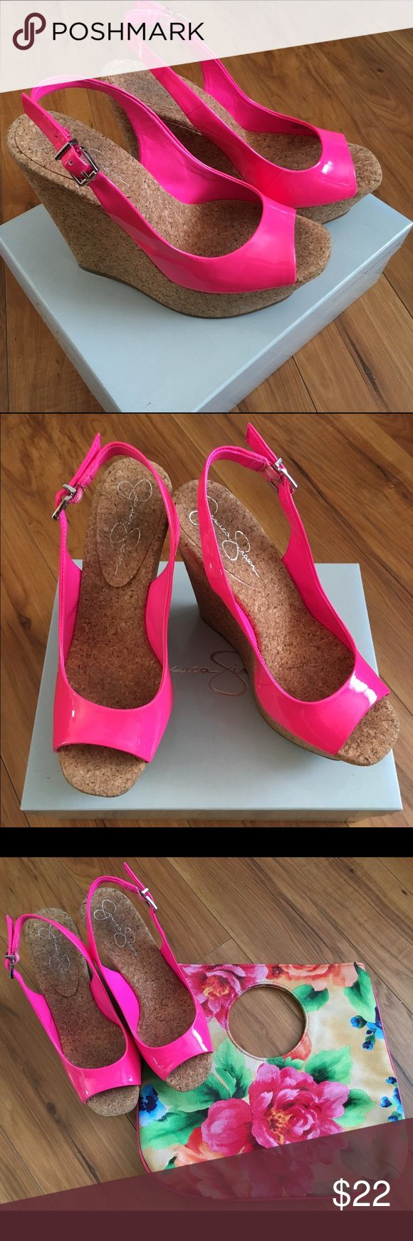 """Jessica Simpson Amande Hot Pink Wedges New in box Jessica Simpson Amande hot pink wedges. Cute for spring! Patent leather with a synthetic sole. Heel is about 4.75"""" Get ready for spring! Jessica Simpson Shoes Wedges"""