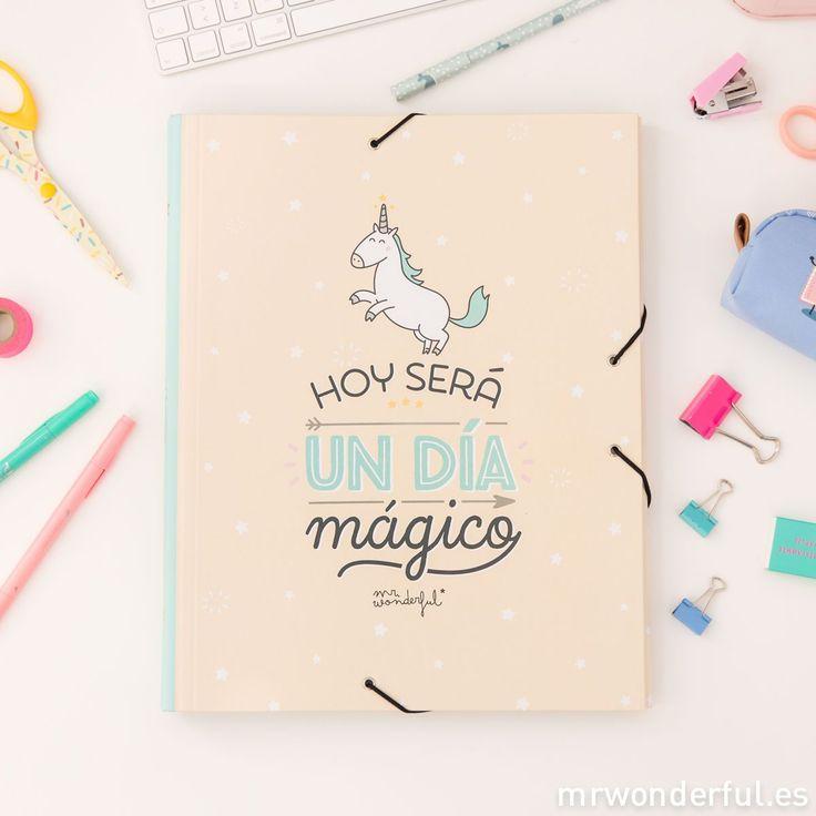 Carpeta separadora - Hoy será un día mágico. Vive cada día como si no hubiese mañana y no dejes que ninguna asignatura, por complicada que sea, apague este día mágico. #mrwonderfulshop #magic #stationery