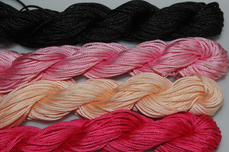 Three shades of pink and black shamballa nylon cord 1mm 28metres each