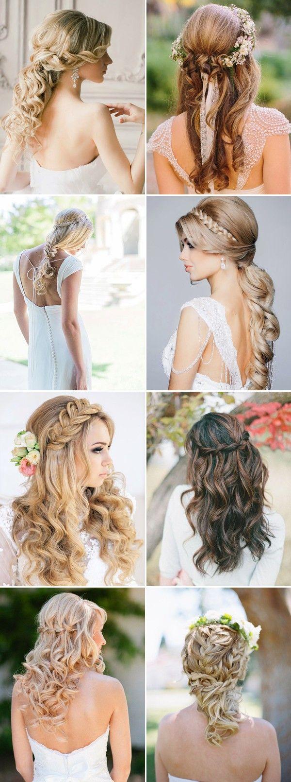 Trançado, metade, metade, baixo, casamento, penteados, longo, cabelo