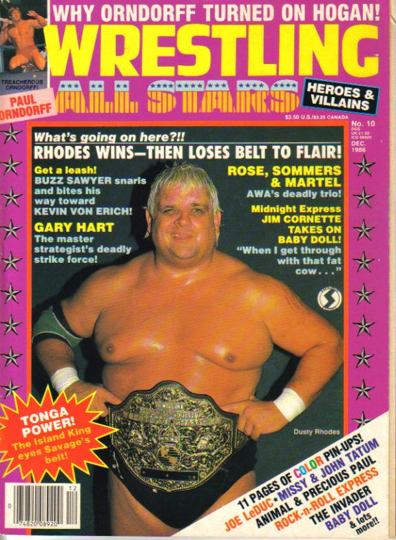 Pro wrestling magazine Wrestling All Stars Heroes & Villains #12 December 1986. Dusty Rhodes and Paul Orndorff on the cover.