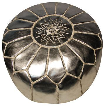 Moroccan Pouf, Silver mediterranean ottomans and cubes