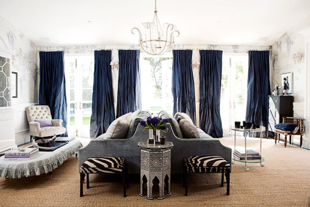 curtains: Decor, Windsorsmith, Windsor Smith, Living Rooms, Navy Curtains, Interiors Design, Blue Curtains, Colors Schemes, Sofas