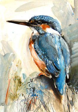 "Saatchi Online Artist Lucy Newton; Mixed Media, ""Kingfisher"" #art"