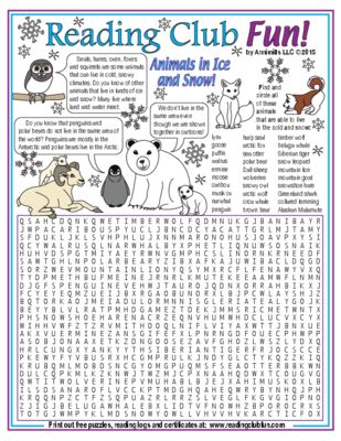 ANIMALS IN ICE AND SNOW - Learn about even more animals that live in cold, snowy climates with this Word Search Puzzle!
