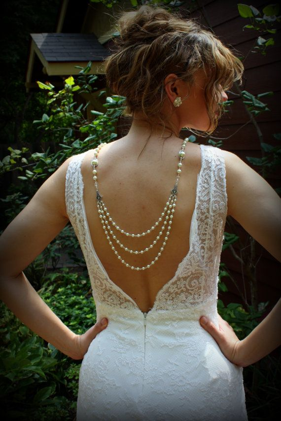 Backdrop NecklaceIvory Pearl NecklaceWedding by dreamdaydesign