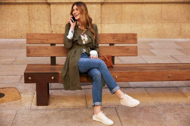 Kampania TOP SECRET wiosna 2017 casual outfiet khaki coat trench płaszcz denim spring 2017 outfit