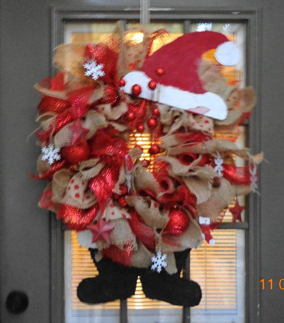 Large Red Santa burlap with mesh ribbon by kathyleeskreations, $59.00