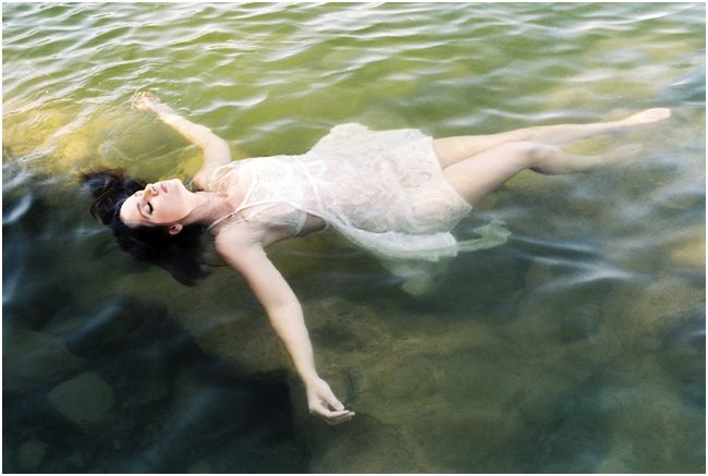 floating in water boudoir at the lake in Arizona on film with contax 645 fuji 400h by Brushfire Photography