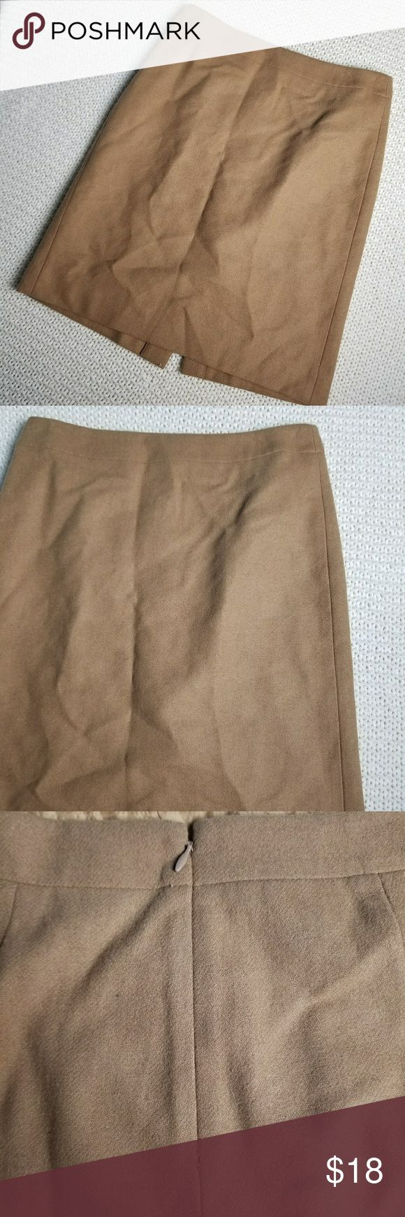 J. Crew tan pencil skirt 2 wool blend texture work Great for formal and professional events  Work office chic  Can see seam coming loose in close up Zipper enclosure  Size 2 J. Crew Skirts Pencil