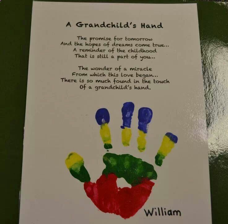 A grandchild hand! Great for Grandparents Day!