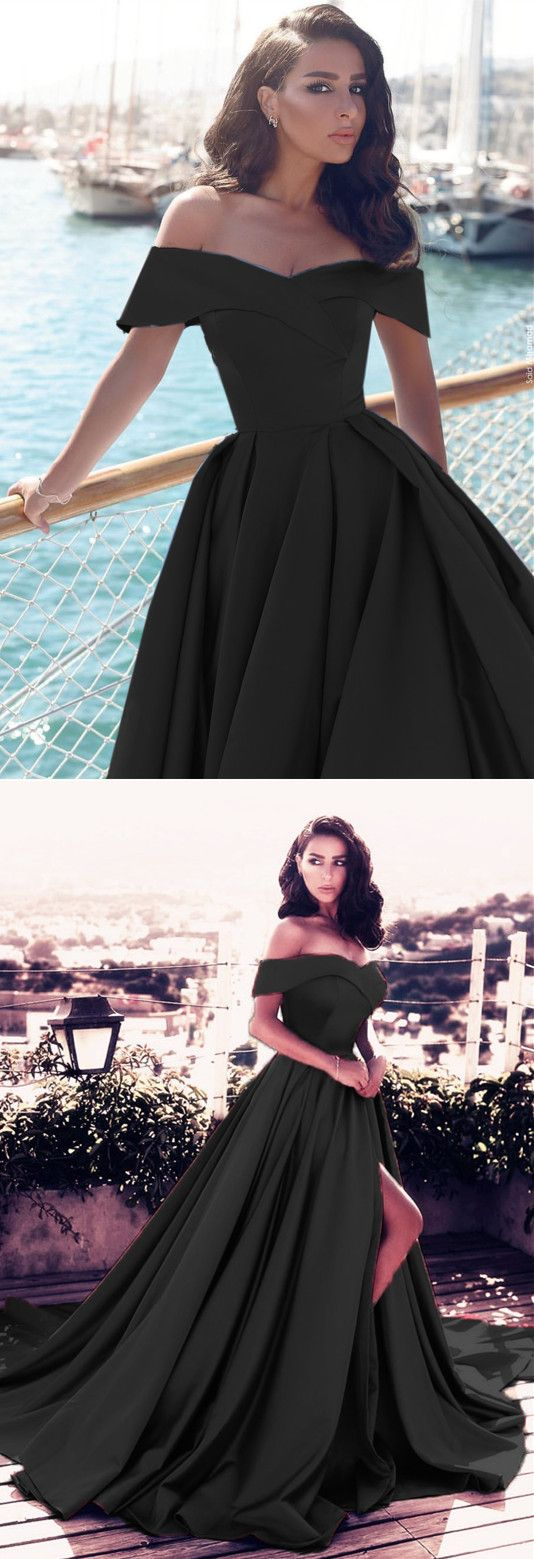 Long Black Satin Off-the-shoulder Prom Dresses 2018 Elegant Split Evening Gowns
