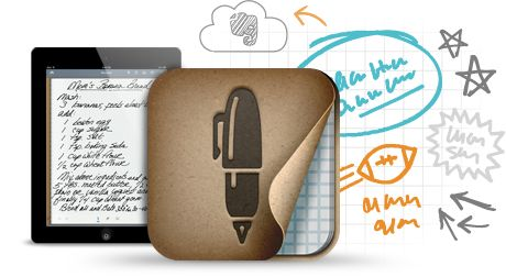 Penultimate graphic - handwriting app for iPad that combines the natural experience of pen and paper with the flexibility and syncing of Evernote.