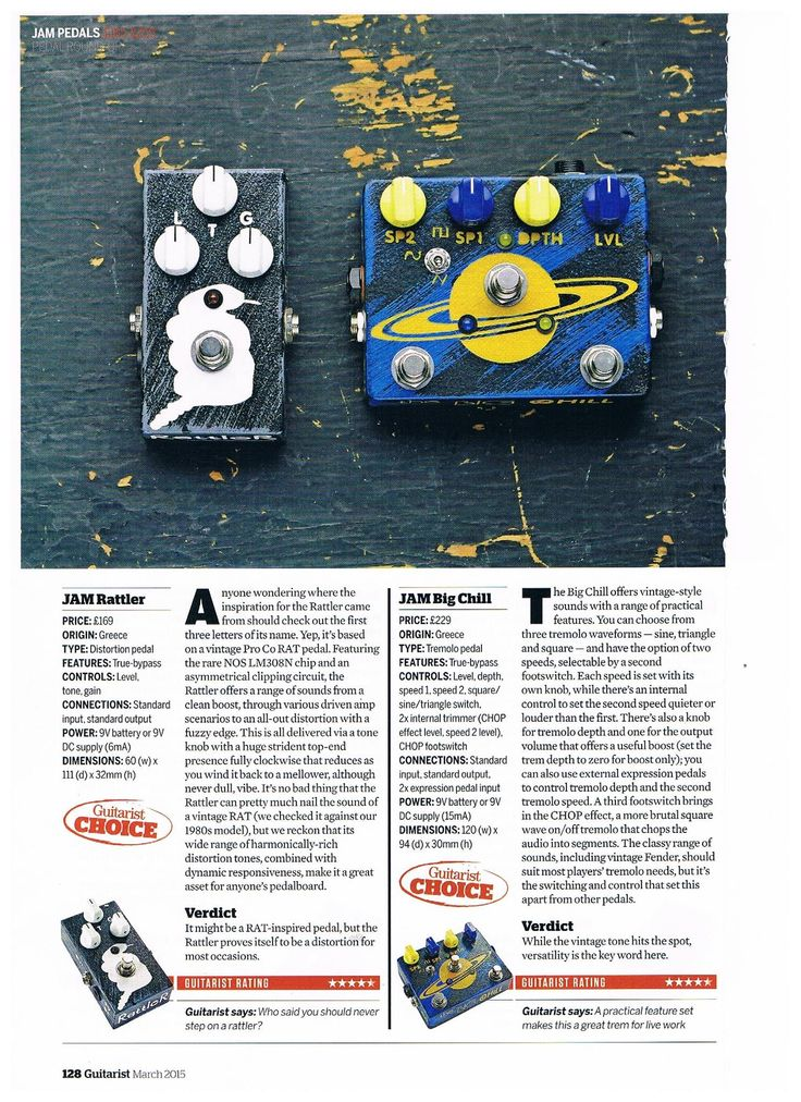 JAM pedals review by Guitarist March 2015 #jampedals #guitaristmagazine #rattler #thebigchill