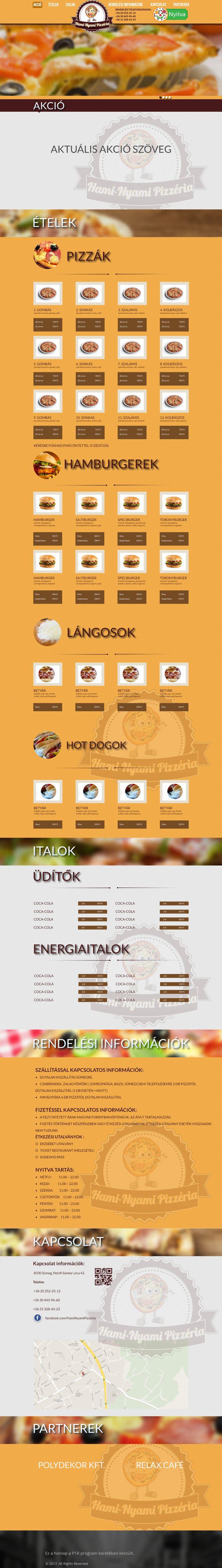 Hami-nyami pizzéria webdesign