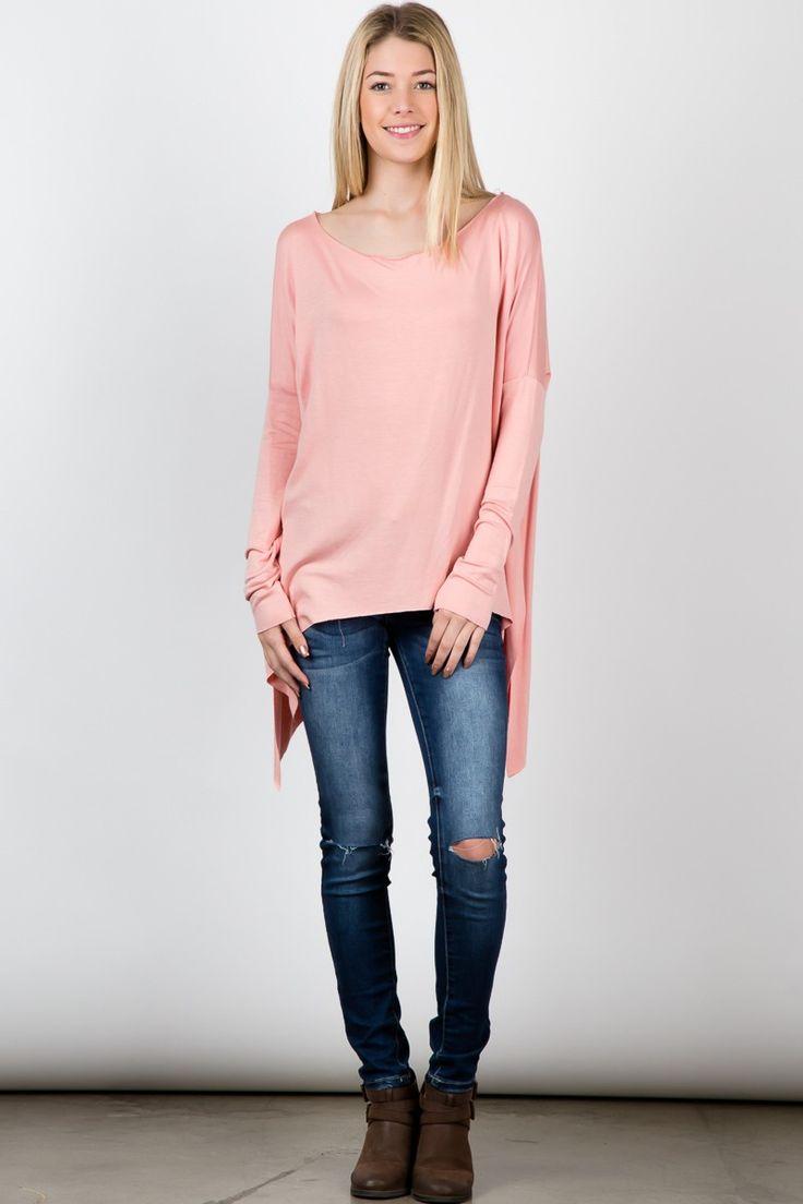 Peach baby french terry round neck dolman sleeves top! #Jacket #fashion #USA #streetfashion #trend #outfit #SleevelessTop #fashionweek #fashionshow #beauty