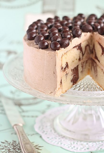 Mocha Marble Cake with Chocolate Covered Coffee Beans by raspberri cupcakes,