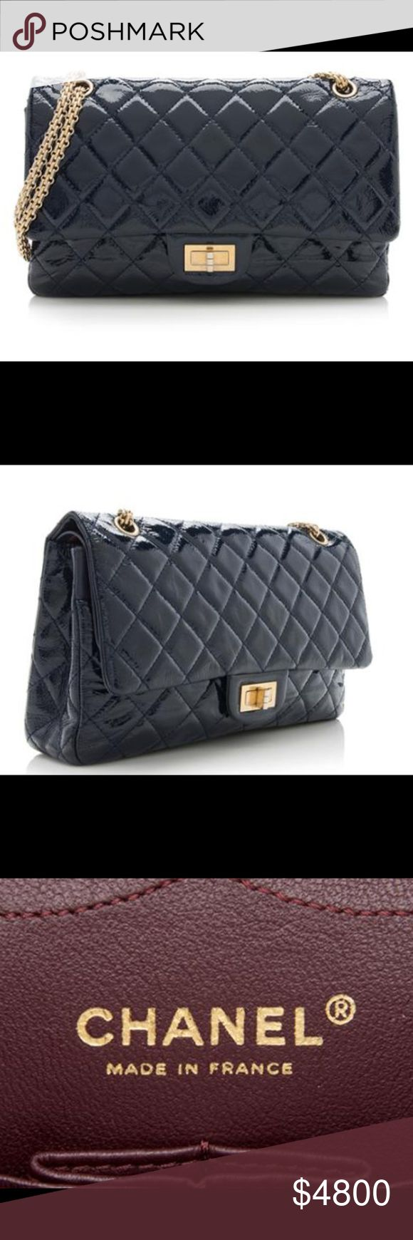 CHANEL NAVY PATENT REISSUE 226 DOUBLE FLAP BAG Purse shows light scuffs and creasing throughout flap. Light scratches and tarnishing on hardware. Light marks on interior. Hologram  started to yellow.  Bag is 2006-2008 It is beautiful deep blue Navy patent leather with a burgundy textile interior. It has 3 open interior pockets and 1 interior snap pocket.  This is guaranteed an authentic bag. I have enclosed pictures but if you have any questions please ask as this is a final sale. No returns…