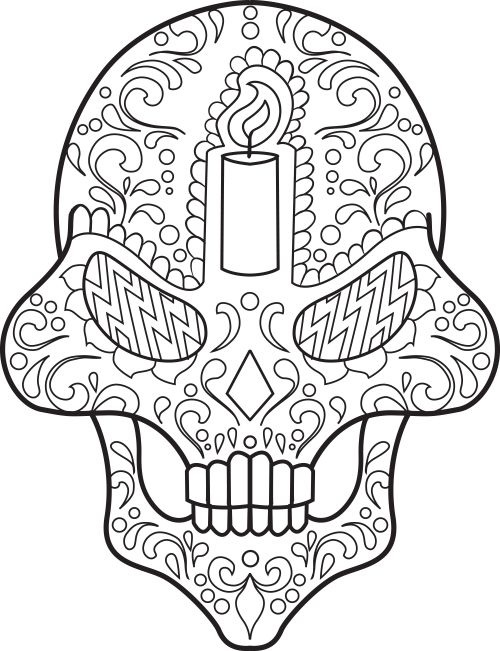 Sugar skull coloring page 13 coloring pinterest for Mexican coloring pages for adults