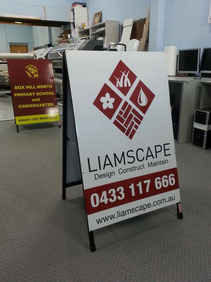 A-Frame Signs for Liamscape and Box Hill North Primary school, designed, printed and installed by Sign A Rama Box Hill.