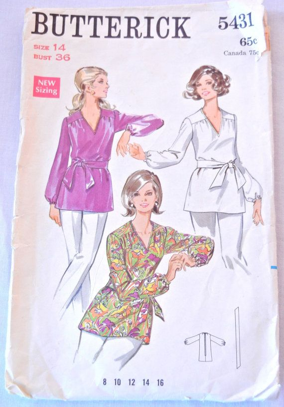 Misses Tunic Top Pattern, V Neck Elastic Cuff Bishop Sleeve, Butterick 5431, Bust 36 Size 14, 1969 by CandyAppleCrafts $8.00