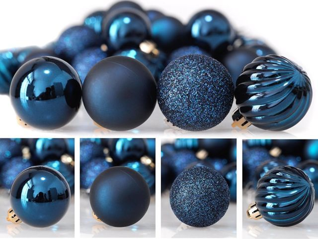 24ct 40mm Dark Blue Mix Christmas Ball Ornaments Shatterproof Tree Decorations Ebay Blue Christmas Ornaments Christmas Decorations Tree Christmas Decorations