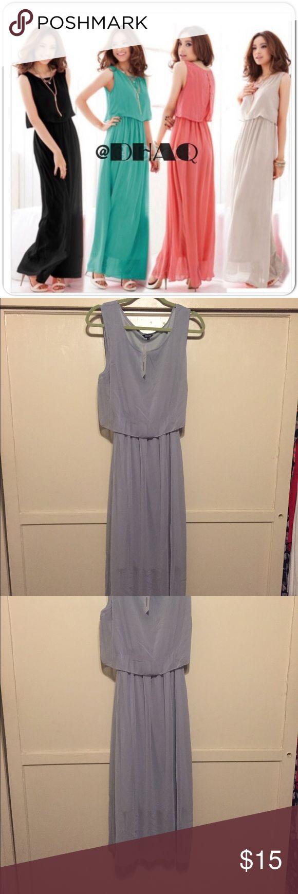 NWT chiffon maxi dress Gray chiffon maxi dress. Very pretty and flowy. Asian size large which is comparable to a US 4/6. New with tags. Dresses Maxi