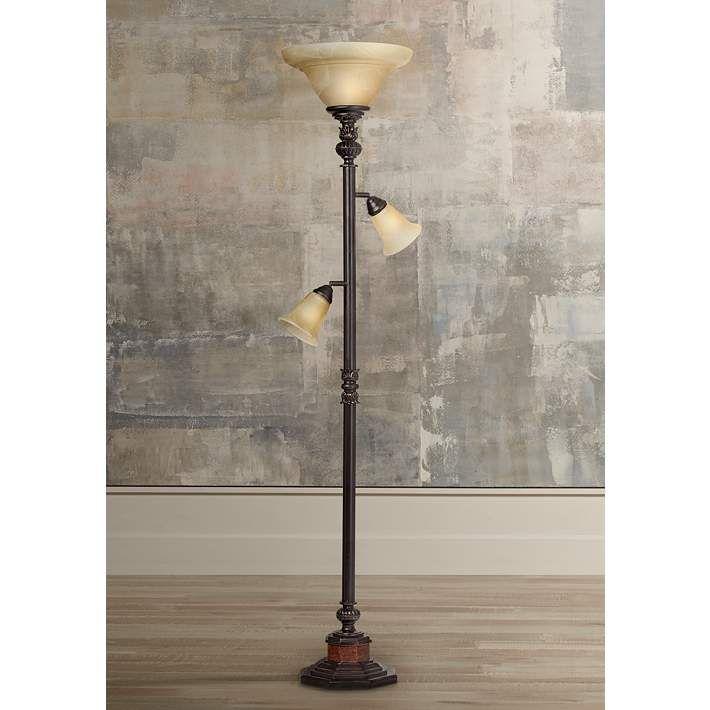 Kathy Ireland Sonnett 3 Light Torchiere Floor Lamp T0288