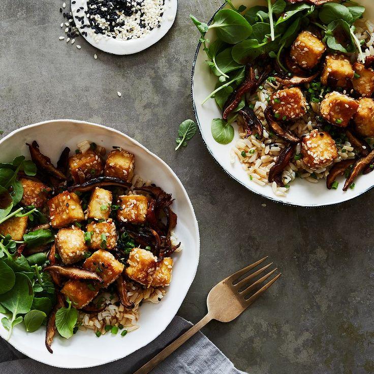 Crispy Sesame Baked Tofu & Shiitake Mushrooms