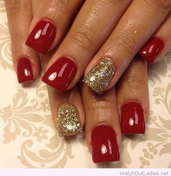 Gold and red Christmas nails