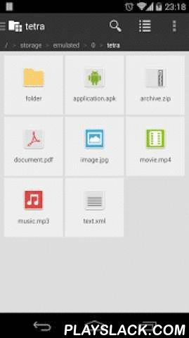 Tetra Filer Free  Android App - playslack.com ,  tetra filer is a simple and stylish file manager that's focused on SD card file operations. The main concept behind this app is to make the best lightweight, easy and safety file manager for Android™. Features:* List view* Cut, copy, paste and delete* Folder creation* Rename* Search (with wildcards)* Compress and extract* Property* Bookmark (Max 5)* Shortcut* Multiple selection* Sort* Share* Thumbnail view (Image, Movie and APK) Differences…