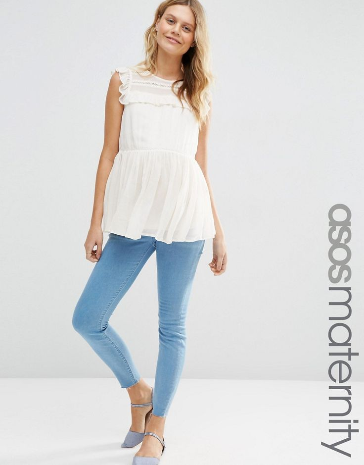 Image 1 of ASOS Maternity Ridley Skinny Jeans in Primrose Wash