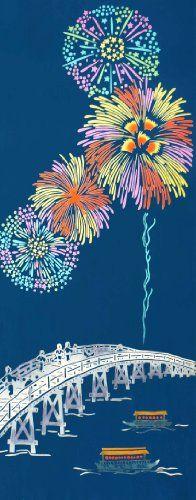 Chusen TENUGUI Hanabi 37 x 98cm Hanabi: Fireworks
