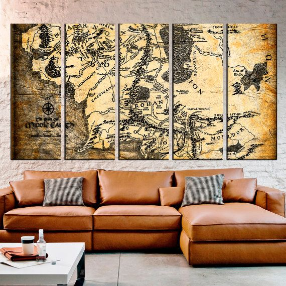 Middle Earth of Lord of the Rings Vintage world Map, Map Canvas print,Multi Panel Canvas,Large wall Canvas, Large World Map Art Art № 0116  Rescue your blank walls with beautiful Gallery Wrapped Canvas Prints. Photo to Canvas prints are the newest trend for turning any image into amazing wall art. Hang them on a wall in your home or office for Interior decor.  *** Contemporary large canvas prints is guaranteed 100 years indoor. *** High quality UV-inks and we use varnish to keep colors…