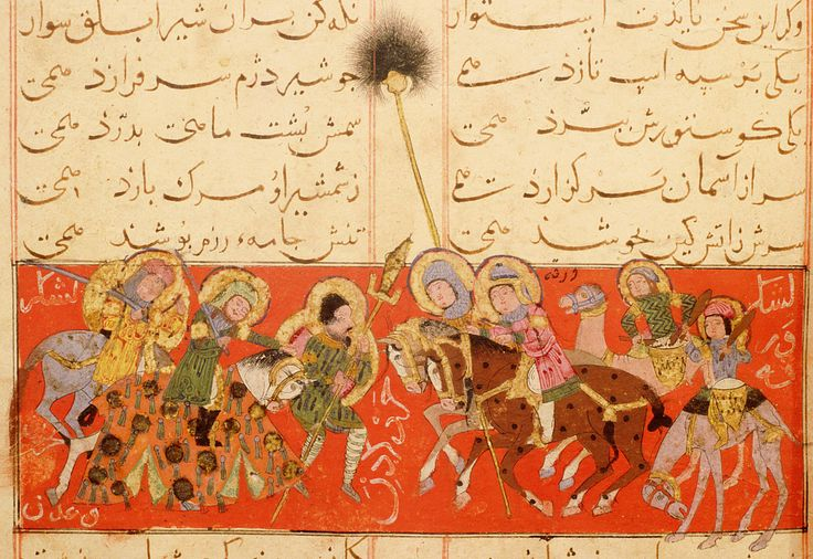 "Warqah to battle; with him, a standard-bearer, behind him, two figures on camels beating large drums; in front of him, two riders and foot-soldier; red background; inscription: ""The army of Warqah scatters that of Bahrain and of 'Adan."""