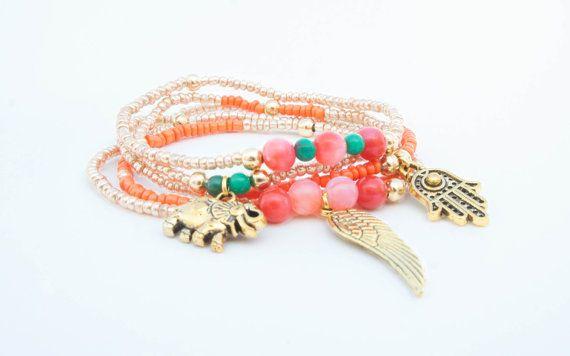 Boho bracelet stack Beaded friendship bracelet set by Olive1990, €8.00