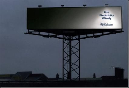 Use what you need, nothing else. Although in this case, seeing as it is an Eskom ad (Electricity Supply Commission, South Africa) they are probably refferring to the fact that you don't get much in the first place...