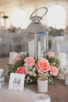 Romantic Lantern & Roses Wedding Centerpiece inspiration.