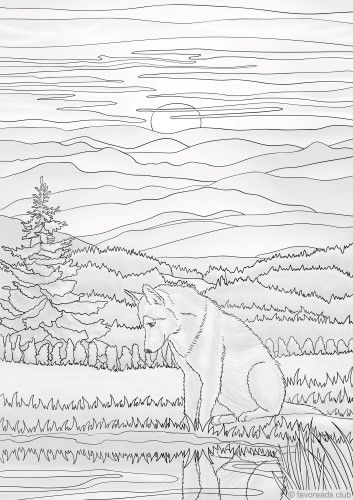 Wolf Enjoys The Sunset Printable Printable Adult Coloring Pages